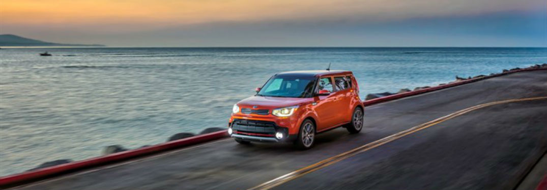 2018 Kia Soul Exterior Front Fascia drivers side on road with water background