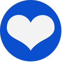 Blue dot with heart icon