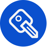 Blue dot with key icon