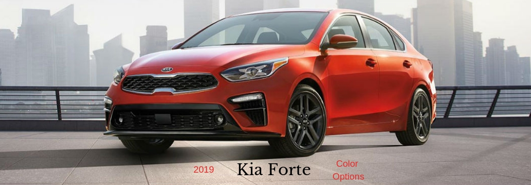 2019 Kia Forte Color Options, text beneath a front driver side exterior image of a red 2019 Kia Forte