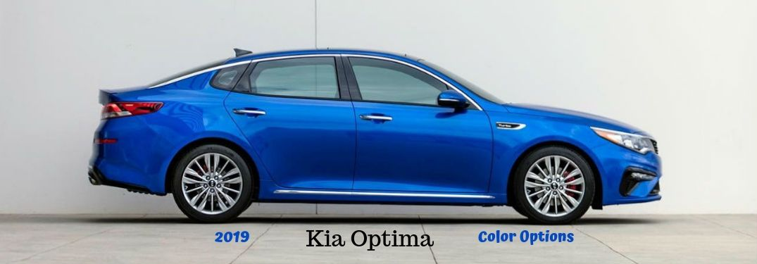 2019 Kia Optima Color Options, text below a passenger side exterior image of a blue 2019 Kia Optima