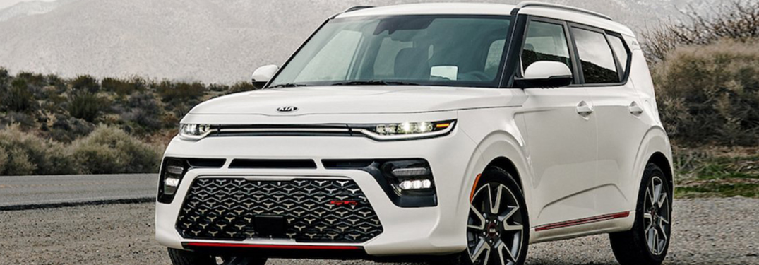 2020 Kia Soul driving down a rural highway