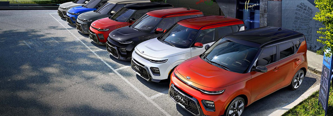 2020 Kia Soul models parked in a row