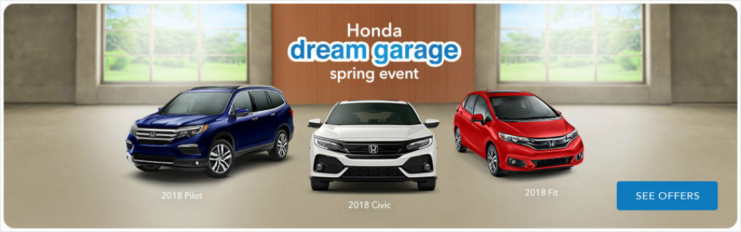 Honda Dream Garage Spring Event Title and Three Honda Vehicles