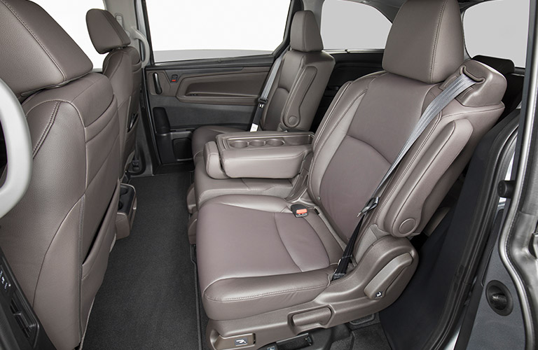 Interior image of the brown second row of seating in a 2019 Honda Odyssey