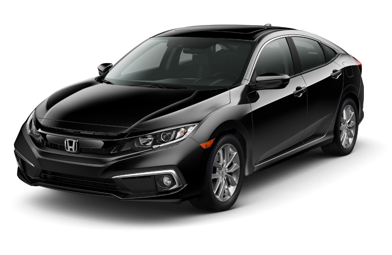 Exterior view of the front of a gray 2019 Honda Civic parked against a white background