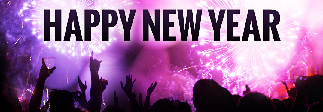 "Purple fireworks in the sky with ""Happy New Year"" in black font"