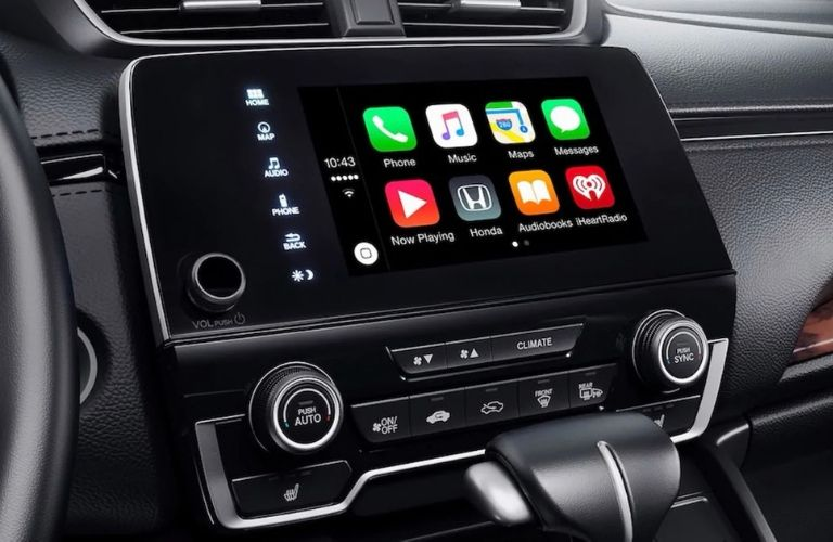 Closeup view of Apple CarPlay® on the Audio Display touch-screen in a 2019 Honda CR-V
