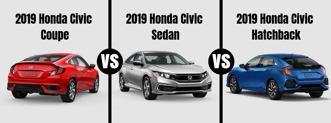 Comparison image of a red 2019 Honda Civic Coupe, a silver 2019 Honda Civic Sedan, and a blue 2019 Honda Civic Hatchback