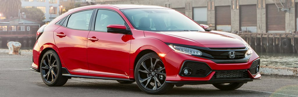 Exterior view of a red 2019 Honda Civic Hatchback