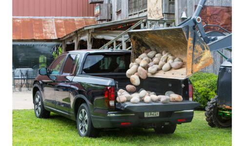 2020 Honda Ridgeline black paint loading round rocks into bed