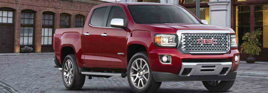 Red 2018 GMC Canyon Denali parked