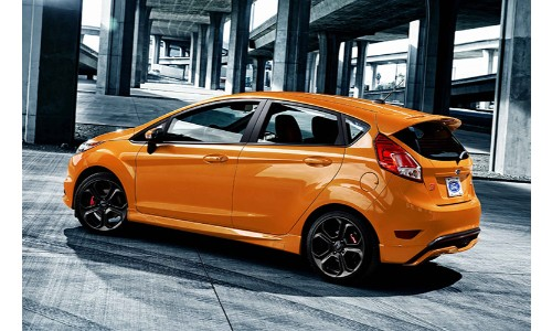 Orange 2019 Ford Fiesta in concrete bridge