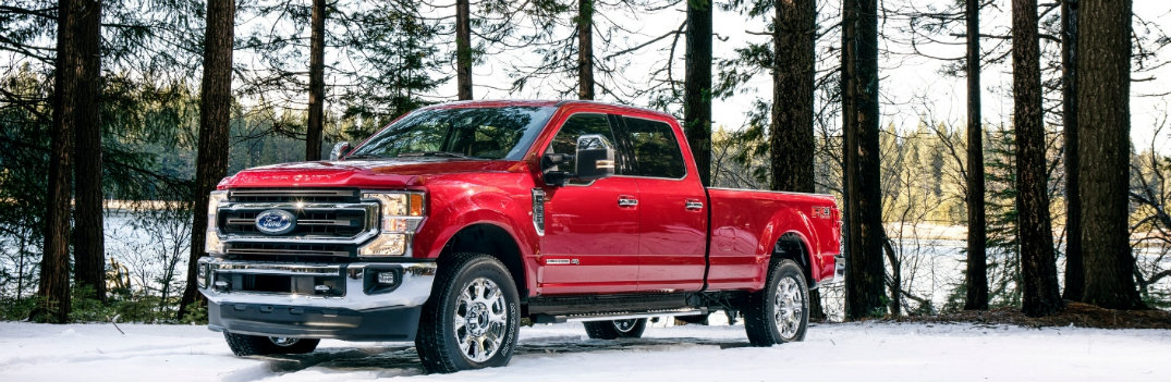 2020 Ford Super Duty in the snow