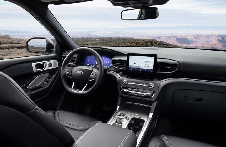 2020 Ford Explorer interior dash and rear view