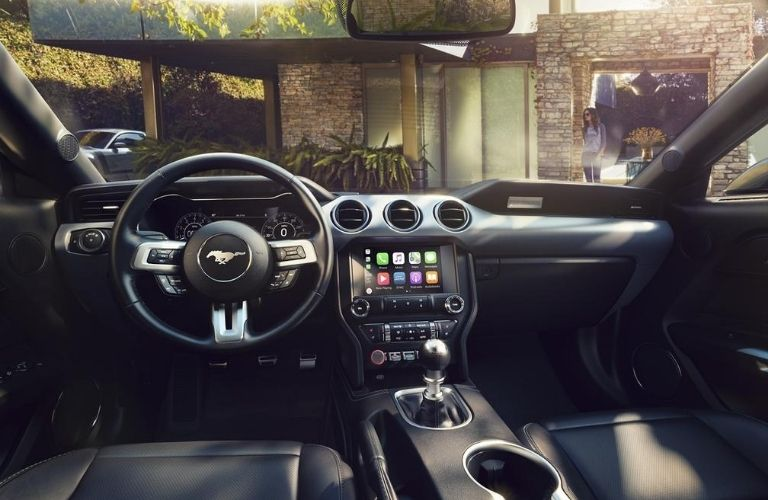 2020 Ford Mustang interior dash and wheel view