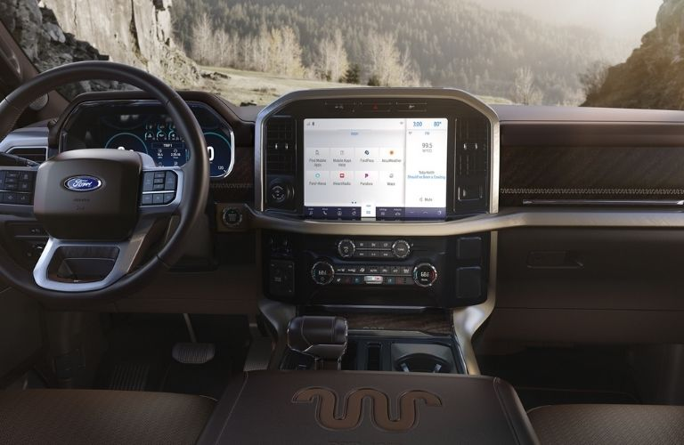 2021 Ford F-150 interior dash and screen view