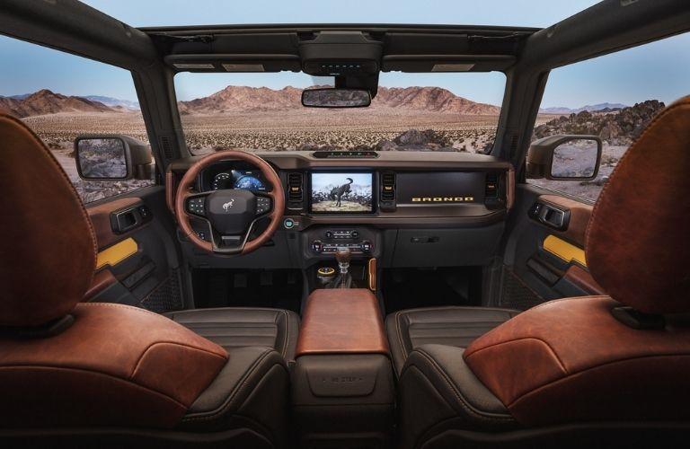 2021 Ford Bronco interior dash and wheel