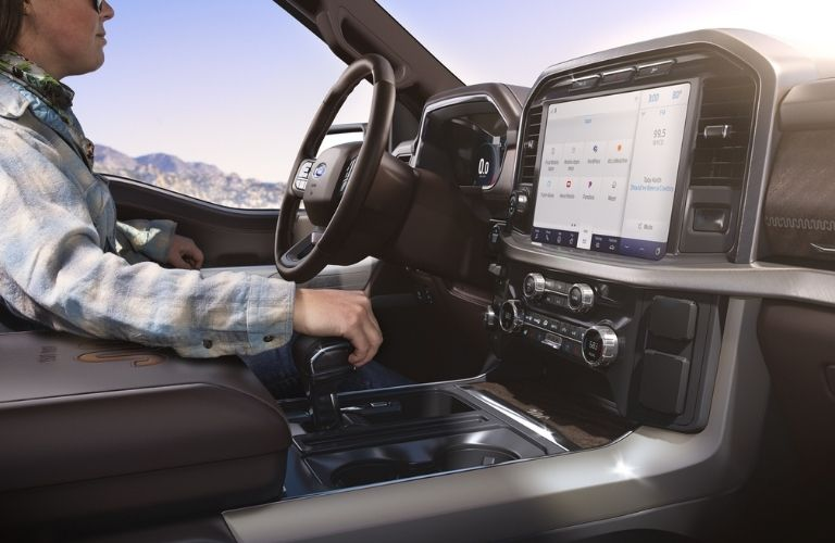 2021 Ford F-150 interior dash and wheel view