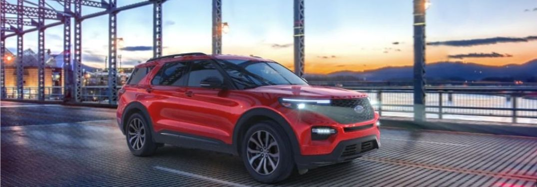 2021 Ford Explorer driving on a bridge