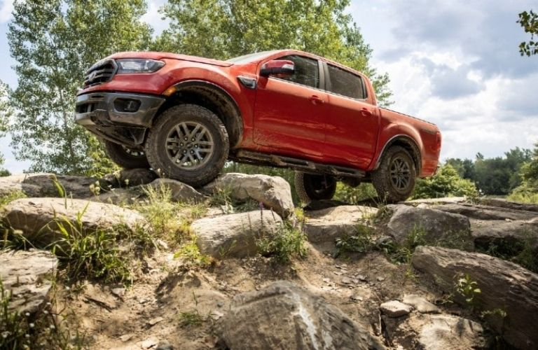 2021 Ford Ranger on a rugged terrain
