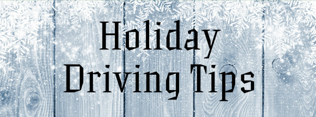 "Snow-covered wood panels with ""Holiday Driving Tips"" text"