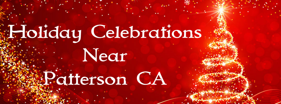 "Gold Christmas tree against a red background with ""Holiday Celebrations Near Patterson CA"" in white text"