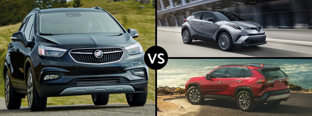 Comparison image of a gray 2019 Buick Encore, a silver 2019 Toyota C-HR, and a red 2019 Toyota RAV4