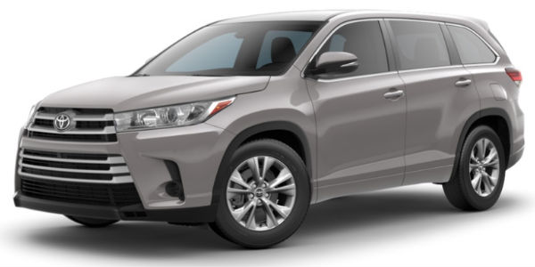 Celestial Silver Metallic 2018 Toyota Highlander Exterior On White  Background