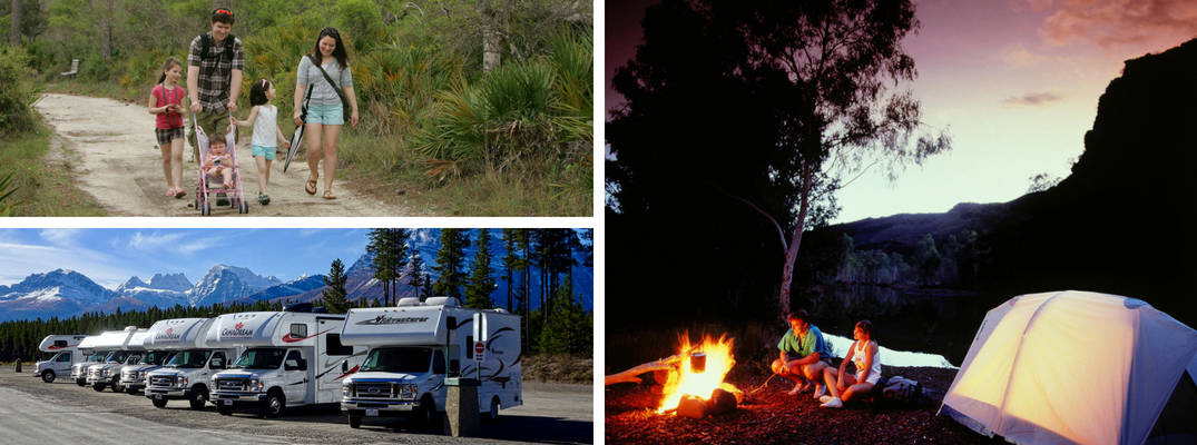 Pictures of a Family on a Hiking Trail, RVs with Mountains in the Background and a Family Next to a Campfire and Tent at Night
