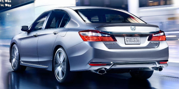 Silver 2017 Honda Accord Sport Rear Exterior with Spoiler and Dual Chrome Exhaust
