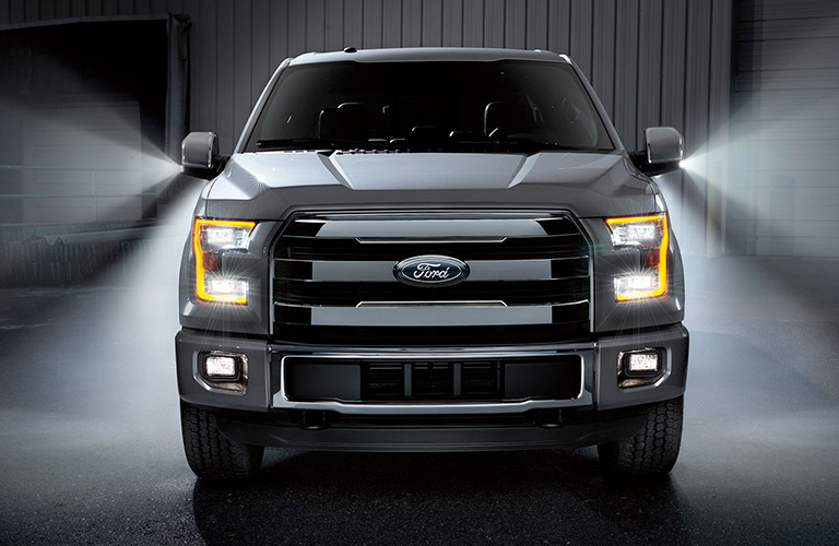 2017 Ford F-150 front grille with headlights on