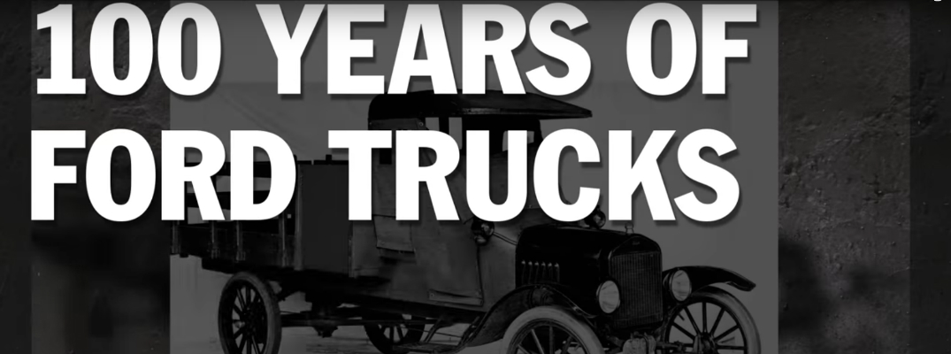 100 Years of Ford Trucks Title over Black Background