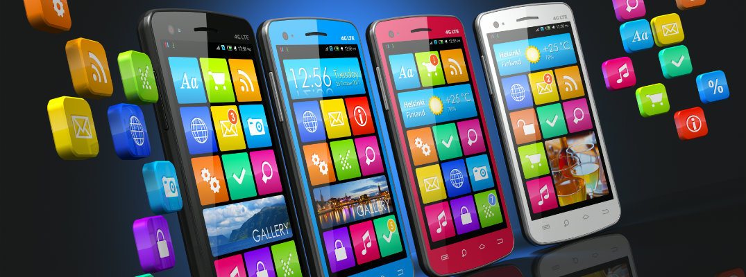 Image of four smartphones displaying various mobile applications