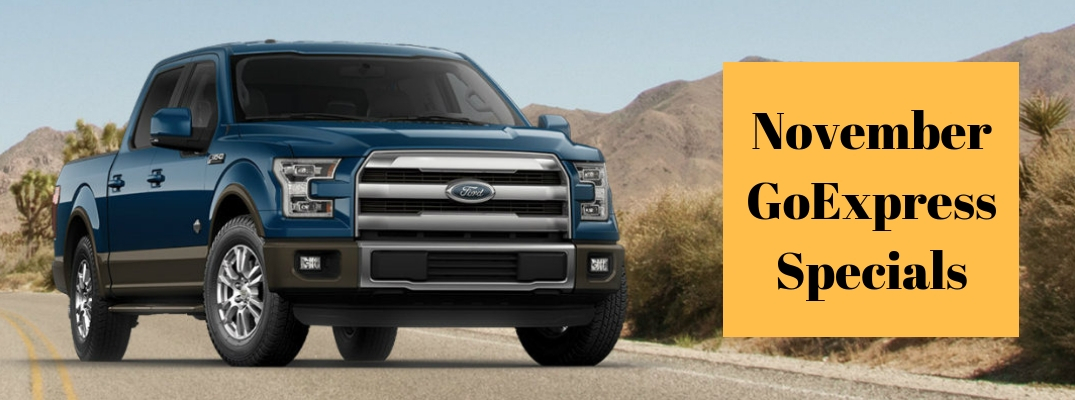 """Exterior view of a blue 2016 Ford F-150 with """"November GoExpress Specials"""" text"""