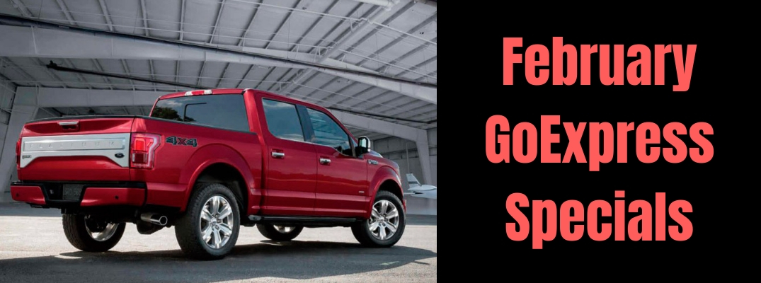 """Image of a red 2017 Ford F-150 with """"February GoExpress Specials"""" in red font against a black background"""