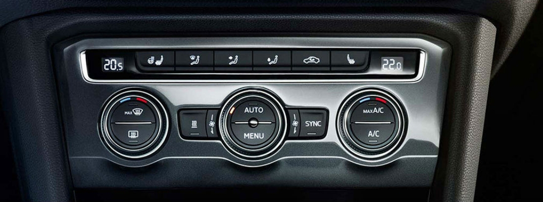 Closeup view of the temperature control panel inside a vehicle
