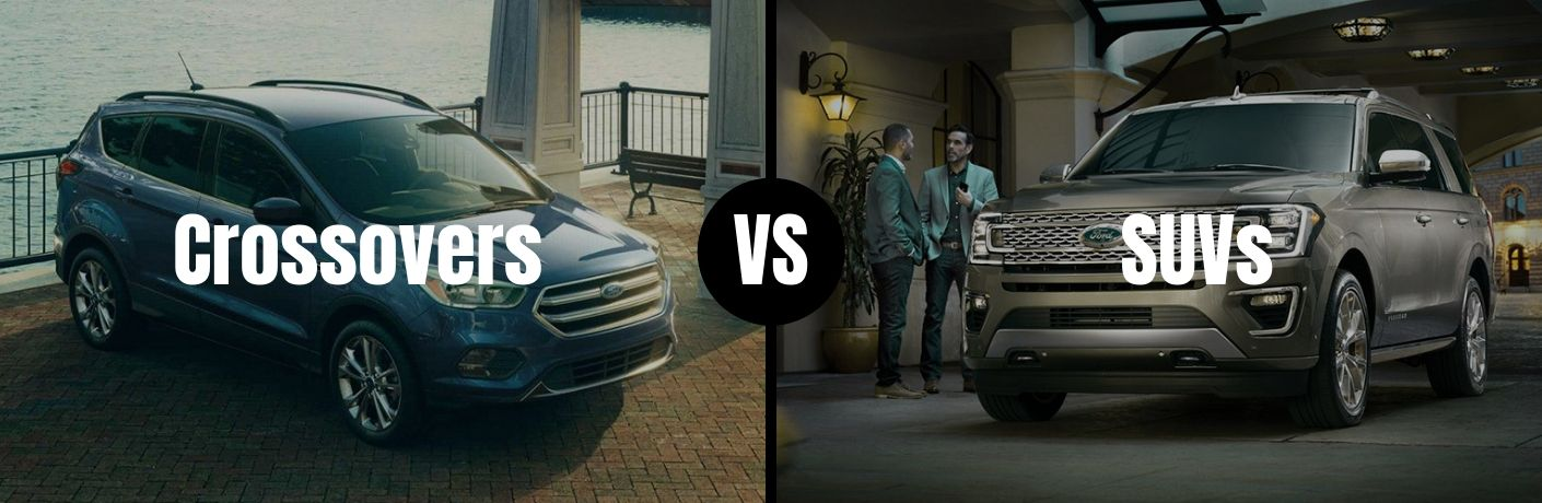 Comparison image of a Ford crossover and a Ford SUV