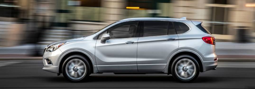 2018 Buick Envision in grey driving down a blurred road