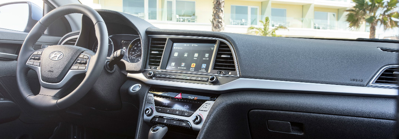 2018 Hyundai Elantra steering wheel and dashboard