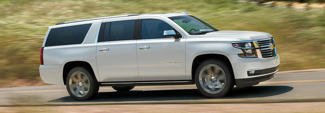 2019 Chevy Suburban in white side profile
