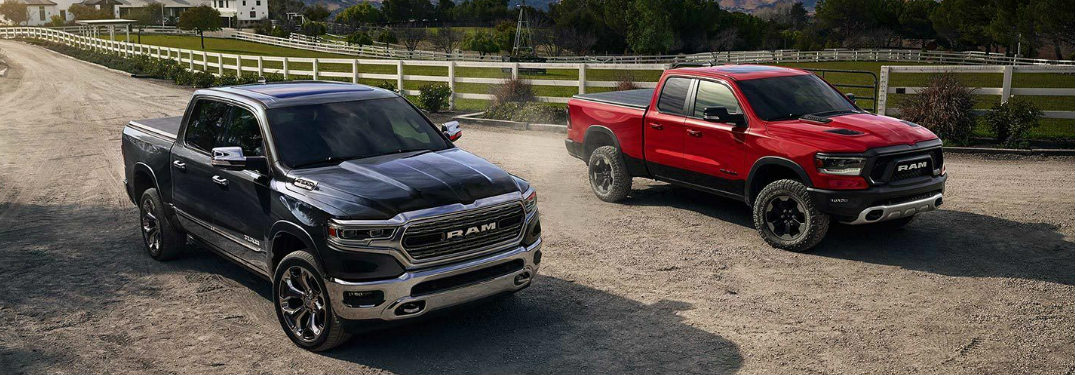 Two 2019 RAM 1500 models parked in a long gravel driveway