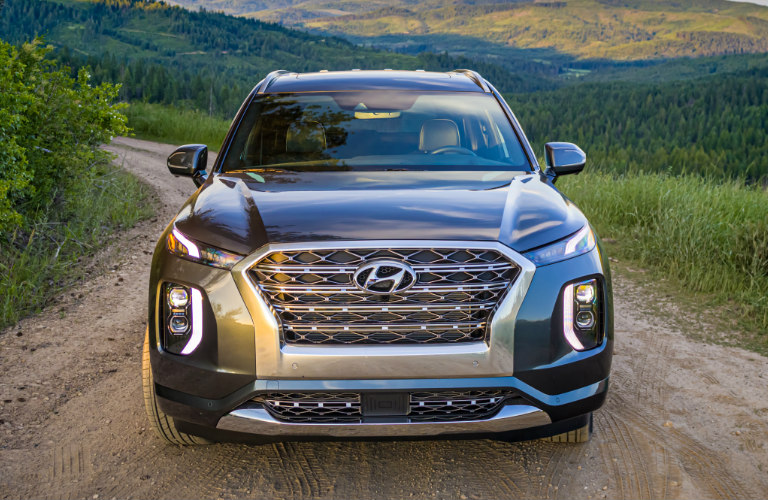 2020 Hyundai Palisade front grille and headlights