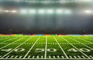 Football Stadium lines with lights and fans