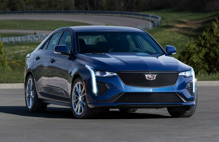 2020 Cadillac CT4-V with racetrack in background
