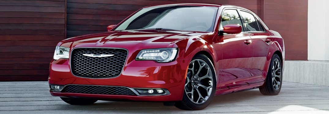 2019 Chrysler 300 in front of wood wall