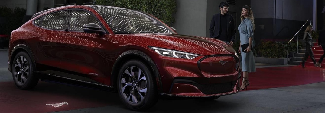 2021 Ford Mustang Mach-E parked by red carpet