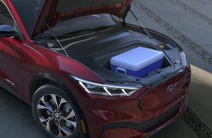 2021 Ford Mustang Mach-E with hood open showing extra cargo space