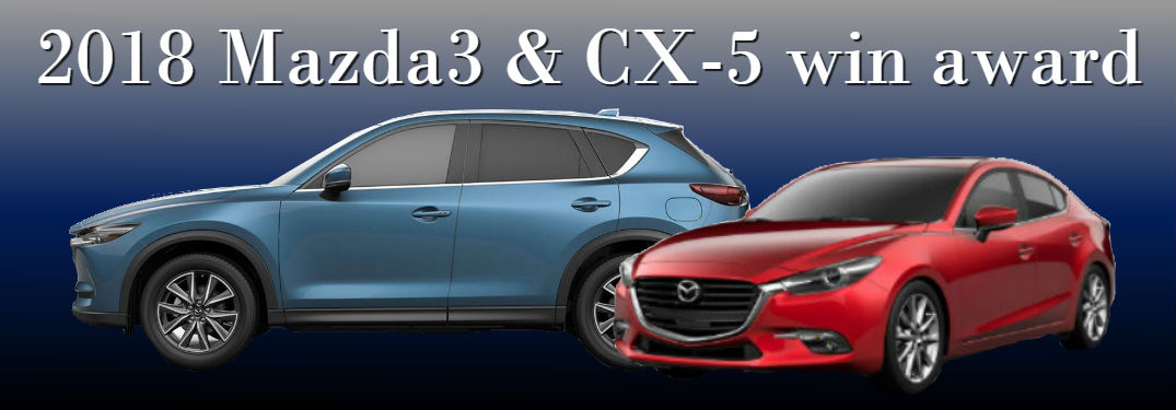 2018 Mazda3 and CX-5 win Best Car Awards with image of both vehicles on blue and black background