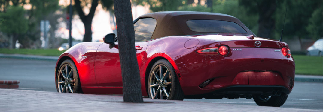 2019 Mazda MX-5 Miata exterior back fascia and drivers side parked on road